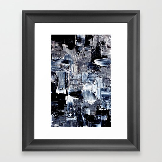 50 Shades... - black & white abstract painting Framed Art Print