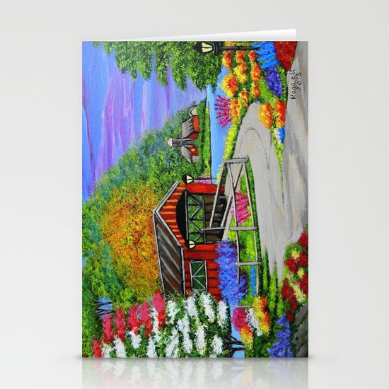 Covered bridge to town  Stationery Cards