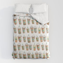 Coffee Cup Line Up in White Cream Duvet Cover
