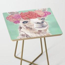 Flower Crown Llama Side Table