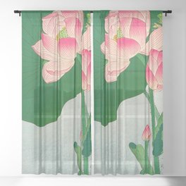 Ohara Koson Flowering Lotus 1930s Japanese Woodblock Print Vintage Historical Japanese Art Sheer Curtain