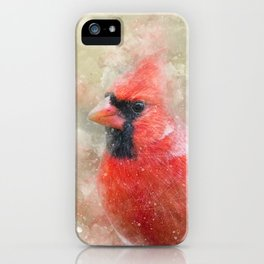 Northern Cardinal Watercolor Splatter iPhone Case