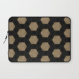 Textured Tan and Black Marble Geo Patterns Laptop Sleeve