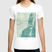 miami T-shirts featuring Miami Map Blue Vintage by City Art Posters