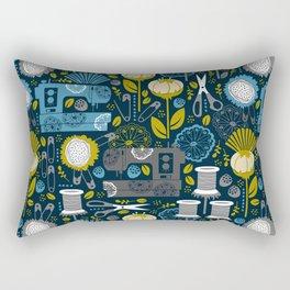 Garden of Sewing Supplies - Navy Rectangular Pillow