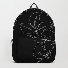 Botanical illustration one line drawing - Rose Black Backpack