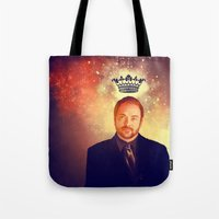 crowley Tote Bags featuring Crowley - Supernatural by KanaHyde
