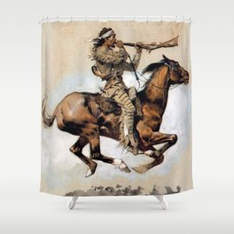"Frederic Remington ""Buffalo Hunter Spitting Bullets"" Western Art Shower Curtain"