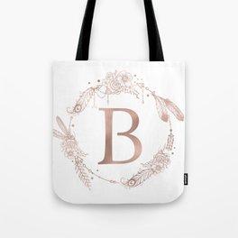 Letter B Rose Gold Pink Initial Monogram Tote Bag