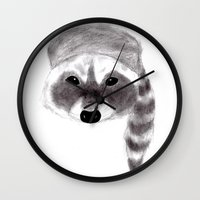 racoon Wall Clocks featuring Racoon by MichaelJenningsDoodleBoy