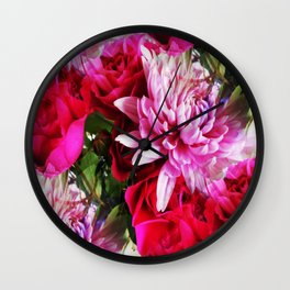 Radiant Red Roses and Pretty Pink Mums Wall Clock