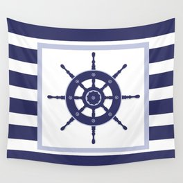 AFE Nautical Navy Helm Wheel Wall Tapestry