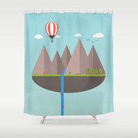 playstation Shower Curtains featuring Flat island  by eARTh