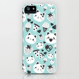 Cats & Food Pattern iPhone Case