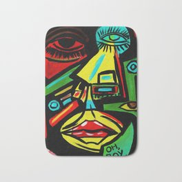 """""""Rosy Cheeks"""" Abstract Portrait Painting Bath Mat"""