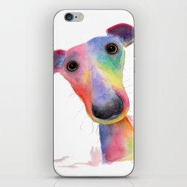 Nosey Dog Whippet / Greyhound ' HANK ' by Shirley MacArthur iPhone Skin