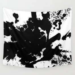 Black and white splat - Abstract, black paint splatter painting Wall Tapestry