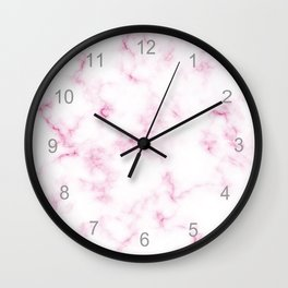 Lovely White and Rose Marble Pattern Wall Clock