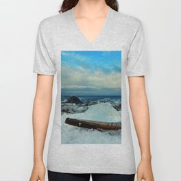 Spring Comes to the Beach in Ice that glows Blue Unisex V-Neck