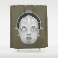 metropolis Shower Curtains featuring Metropolis Robot by tuditees
