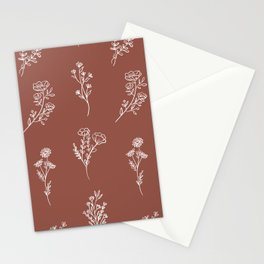 Botanical Wildflowers Line Art Stationery Cards