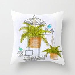 Birds and Ferns Throw Pillow