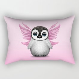 Cute Baby Penguin with Pink Fairy Wings Rectangular Pillow