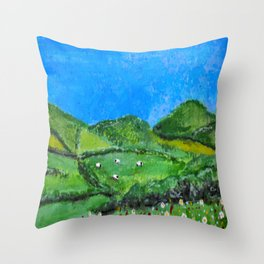 Grazing Sheep Throw Pillow