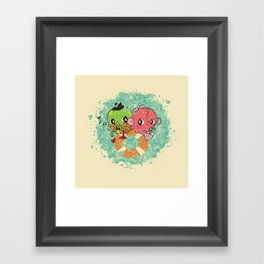 The Pond Lovers - Mr. Froggy and Ms Goldfish Framed Art Print