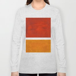 Burnt Orange Yellow Ochre Mid Century Modern Abstract Minimalist Rothko Color Field Squares Long Sleeve T-shirt
