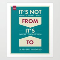 godard Art Prints featuring Godard (The quotes series) by Azarias