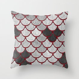 Drain Scales with Red Outlines Throw Pillow