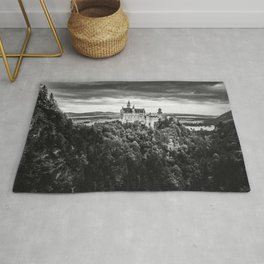 The Castle on the Mountain (Black and White) Rug