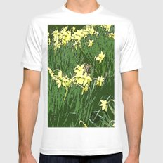 Daffodil Field Mens Fitted Tee White MEDIUM