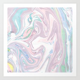 Abstract pastel pink purple teal watercolor marble Art Print