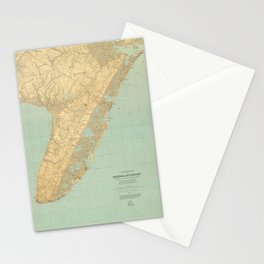Vintage Map of Cape May NJ (1888) Stationery Cards