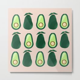 Avocados pattern - green and pink Metal Print