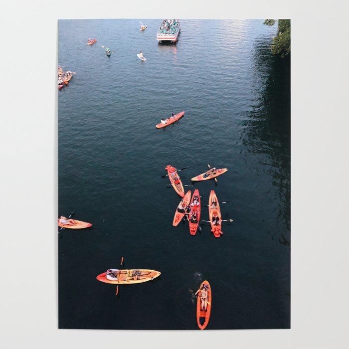 Austin At Dusk: Austin Kayak At Dusk Poster By Makgalliard