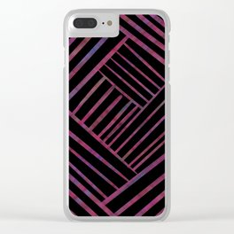SAVANT black with bright pink and purple lines pattern Clear iPhone Case