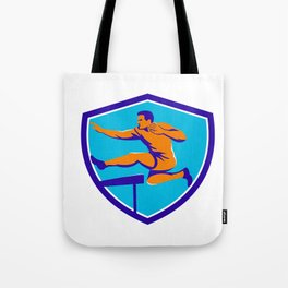 Track And Field Athlete Jumping Hurdle Tote Bag