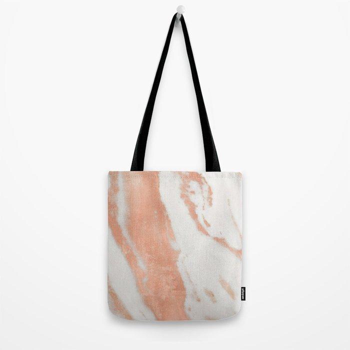 Marble Rose Gold Shimmer Light Tote Bag