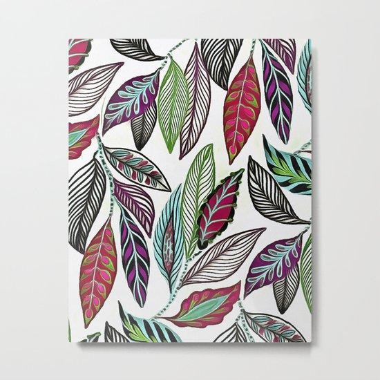 Colorful leaves pattern Metal Print