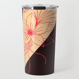Modern Peach, Coral, and Black Floral Triangles Travel Mug