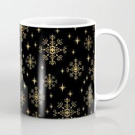 Gold and black snowflakes winter minimal modern painted abstract painting minimalist decor nursery Coffee Mug