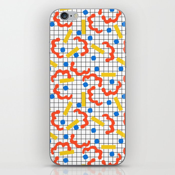 Primal - memphis throwback squiggle circle geometric grid lines dots trendy hipster 80s retro cool iPhone Skin