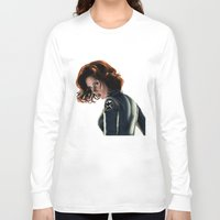 black widow Long Sleeve T-shirts featuring Black Widow by Christine Tromop