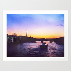 Sunset over Seine River, Paris Art Print