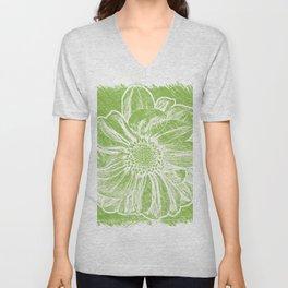 White Flower On Lime Green Crayon Unisex V-Neck