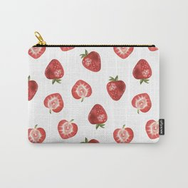 Watercolor Hand-panted Food Strawberry Seamless Pattern Carry-All Pouch