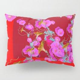 Red decorative Pink Morning Glories Pillow Sham